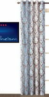 Fabutex Polycotton Blue Printed Eyelet Door Curtain 213 Cm In Height, Single Curtain