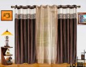 Dekor World Batik Jacquard With Sheer Window Curtain - Pack Of 3