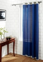 House This Cotton Blue Geometric Eyelet Door Curtain 210 Cm In Height, Single Curtain