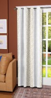 Trendy Home Polyester Beige Striped Eyelet Door Curtain 203.2 Cm In Height, Single Curtain