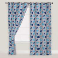 Presto Polyester Blue, Grey Door Curtain 210 Cm In Height, Single Curtain