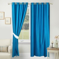 Azaani Polyester Blue Plain Eyelet Window & Door Curtain 214 Cm In Height, Single Curtain