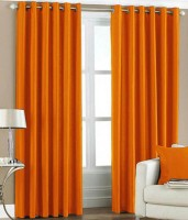 Fresh From Loom Polyester Orange Plain Curtain Window Curtain 150 Cm In Height, Pack Of 2