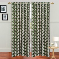 JBG Home Store Polyester Green Floral Eyelet Door Curtain 210 Cm In Height, Pack Of 2