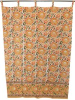 Chhipaprints Cotton Yellow Printed Ring Rod Window & Door Curtain 213 Cm In Height, Single Curtain