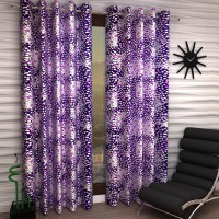 Home Sizzler Polyester Purple Abstract Eyelet Window Curtain 150 Cm In Height, Pack Of 2