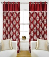 PAG Polyester Maroon Gold Floral Printed Eyelet Window & Door Curtain 210 Cm In Height, Single Curtain