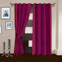 Story @ Home Polyester Crimson Door Curtain 215 Cm In Height, Pack Of 2