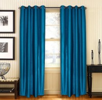 Home Fashion Gallery Polyester Blue Plain Eyelet Window Curtain 152.4 Cm In Height, Pack Of 8