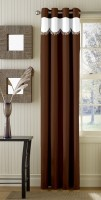 Trendy Home Polyester Brown Plain Eyelet Door Curtain 203.2 Cm In Height, Single Curtain