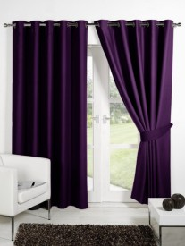 Homec Polyester Purple Solid Eyelet Long Door Curtain