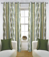 Fabutex Polyester Green Abstract Eyelet Door Curtain 210 Cm In Height, Pack Of 2