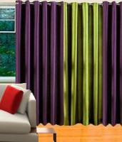 Mirchifry Polyester Green, Purple Door Curtain 84 Inch In Height, Pack Of 3