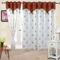 Cortina Embroidery Shear Curtain With Linning Door Curtain - Pack Of 2 - CRNDXV33VFANW9UK
