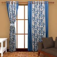 Home Fashion Gallery Polyester Blue Floral Eyelet Window Curtain 152.4 Cm In Height, Pack Of 2