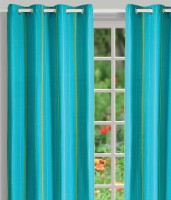 House This Cotton Blue Geometric Eyelet Door Curtain 210 Cm In Height, Pack Of 2