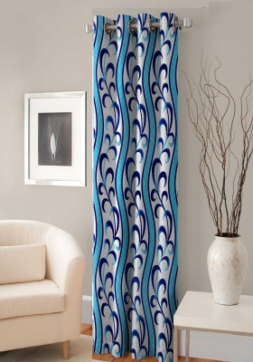 Fashion Fab Polyester Blue Printed Curtain Door Curtain 214 Cm In Height, Single Curtain