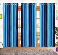 Comfort Zone Polyester Sky Blue And Blue Solid Eyelet Door Curtain 213.36 Cm In Height, Pack Of 3