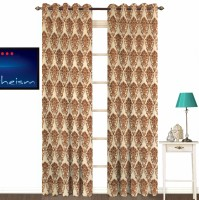 Fabutex Polyester Brown With Silver Damask Eyelet Door Curtain 213 Cm In Height, Pack Of 2
