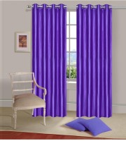 Fogg Polyester Purple, Purple Solid Door Curtain 84 Inch In Height, Pack Of 2