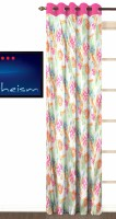 Fabutex Polyester Pink Floral Eyelet Door Curtain 210 Cm In Height, Single Curtain