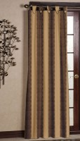 Ahmedabad Cotton Cotton Dark Brown, Light Brown Striped Tab Top Curtain 2.14 M In Height, Single Curtain