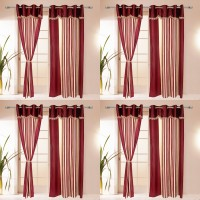 I Catch Blends Red Striped Curtain Door Curtain 210 Cm In Height, Pack Of 8