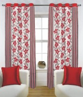 Fabutex Blends Red Floral Eyelet Door Curtain 210 Cm In Height, Pack Of 4
