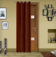 Story @ Home Silk Brown Solid Tab Top Door Curtain 215 Cm In Height, Single Curtain