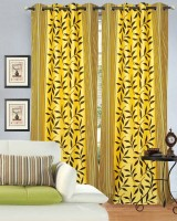 Hargunz Polyester Yellow Floral Eyelet Door Curtain 213.36 Cm In Height, Single Curtain