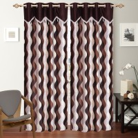 Shop 24 Decor Polyester Brown Printed Curtain Window Curtain 152 Cm In Height, Pack Of 2