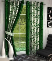 Optimistic Home Furnishing Polyester Green Floral Eyelet Door Curtain 210 Cm In Height, Pack Of 2
