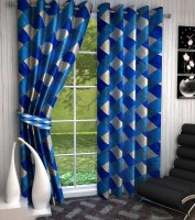 Home Fashion Gallery Polyester Dark Blue Geometric Eyelet Door Curtain 213 Cm In Height, Pack Of 8