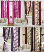 Galaxy Decorations Polyester Pink, Maroon, Purple, Brown Floral Eyelet Door Curtain 212 Cm In Height, Pack Of 8