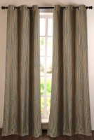 Deco Window Polyester Green Self Design Eyelet Door Curtain 228.6 Inch In Height, Single Curtain