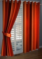 BNA Decor Polyester Orange Plain Eyelet Long Door Curtain 275 Cm In Height, Pack Of 2