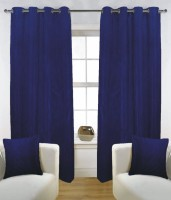 Fabutex Polyester Blue Solid Eyelet Door Curtain 210 Cm In Height, Pack Of 2