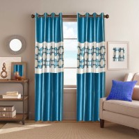 Galaxy Decorations Polyester Light Blue Geometric Eyelet Door Curtain 84 Cm In Height, Pack Of 2