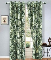 Home Fashion Gallery Polyester Green Checkered Eyelet Window Curtain 152.4 Cm In Height, Pack Of 4