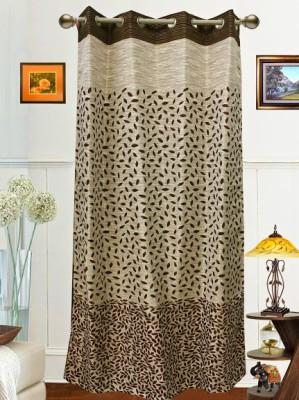 Dekor World Polyester Brown Door Curtain 275 Cm In Height Single