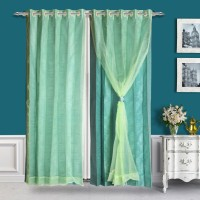 Just Linen Polyester, Tissue Light Blue Door Curtain 213 Cm In Height, Single Curtain