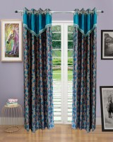 Homefab India Polyester Blue Door Curtain 242 Cm In Height, Single Curtain