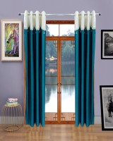 Homefab India Polyester Door Curtain (Single Curtain, 95 Inch/242 Cm In Height, Blue)