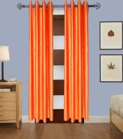 Shop 24 Decor Polyester Orange Plain Eyelet Window & Door Curtain 210 Cm In Height, Pack Of 2
