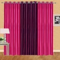 Excel Bazaar Polyester Dark Pink, Wine Solid Eyelet Long Door Curtain 274 Cm In Height, Pack Of 3