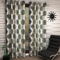 Home Sizzler Polyester Green Geometric Eyelet Window Curtain 150 Cm In Height, Pack Of 2
