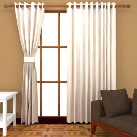 Kanha Polyester White Plain Eyelet Window Curtain