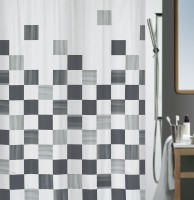 Spread Polyester Grey Printed Curtain Shower Curtain 200 Cm In Height, Single Curtain