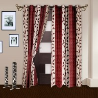 Story @ Home Polyester Maroon Printed Door Curtain 215 Cm In Height, Pack Of 2