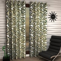 Home Sizzler Polyester Green Floral Eyelet Window Curtain 150 Cm In Height, Pack Of 2